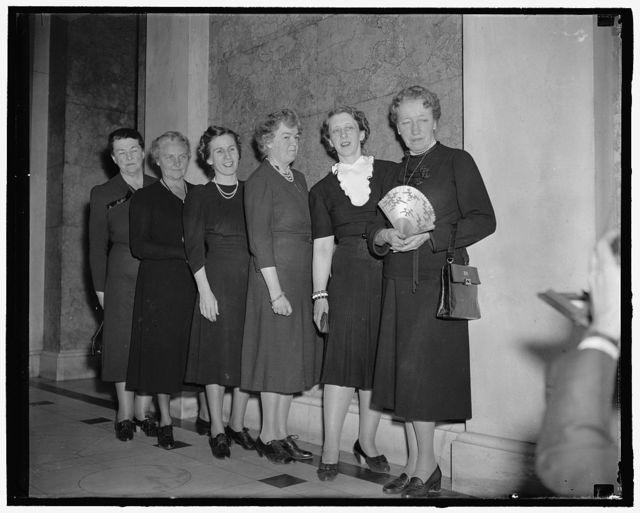 Six members of fair sex now members of National House of Representatives. Washington, D.C., March 6. The election of Mrs. Frances P. Bolton, Ohio, to succeed her late husband, Rep. Chester Bolton, in the House of Representatives brings to a total of six the number of women now serving in that august body. The ladies are evenly divided on political sides, three Republicans and three Democrats. Here's the lineup, left to right: Rep. Frances P. Bolton, Republican of Ohio; Rep. Clara McMillian, Democrat of Tennessee; Rep. Mary T. Norton, Democrat of New Jersey; Rep. Caroline O'Day, Democrat of New York; Rep. Edith N. Rogers, Republican of Mass.; and Rep. Jessie Sumner, Republican of Illinois, 3-6-40