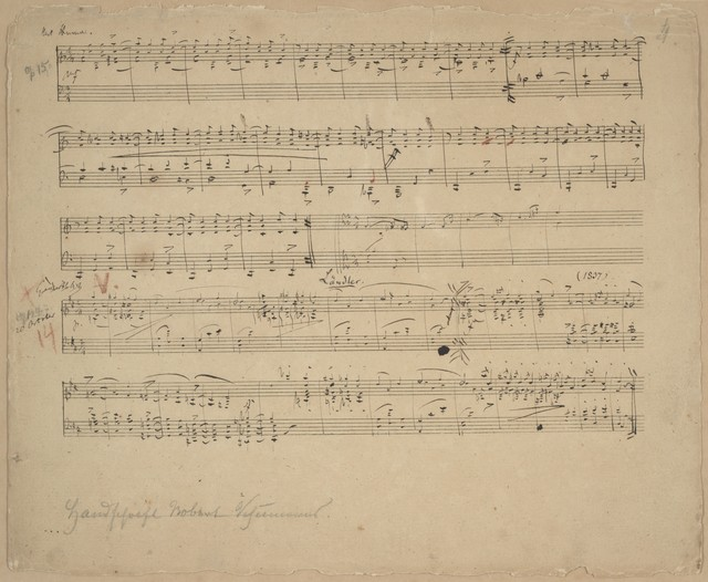 [Sketches of his Op. 15, Kinderscenen, No. 9, Ritter vom Steckenpferd Op. 124, Albumblätter, No. 7, Ländler ; Op. 124, Albumblätter, No. 10, Walzer ; Op. 15, Kinderscenen, No. 6, Wichtige Begebenheit ; Op. 124, Kinderscenen, No. 18, Botschaft]
