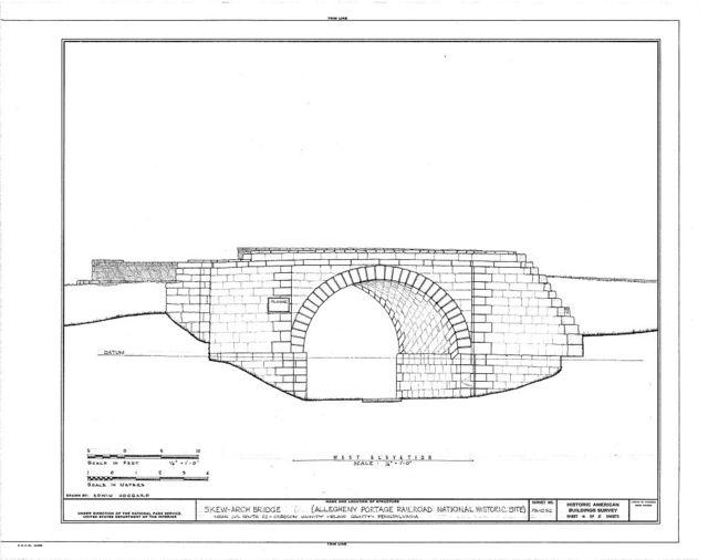 Skew Arch Bridge, Spanning Incline No. 6 at U.S. Route 22 (Old), Cresson, Cambria County, PA