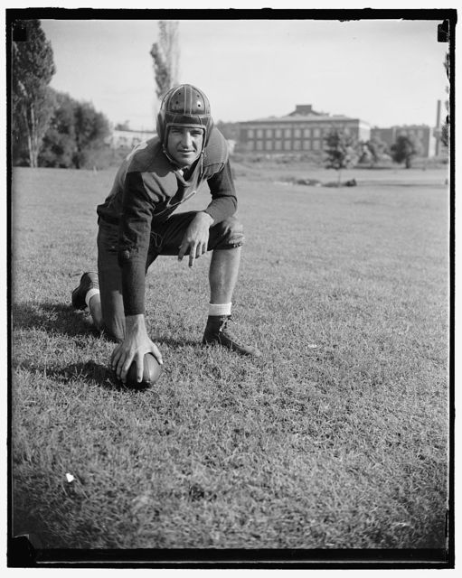 """Slingin Sammy"" Baugh, Washington, D.C., Sept. 11. ""Slinging Sammy"" Baugh, new addition to the Washington Redskins, the Texas Christian U. star is rated as one of the greatest of this generation as far as the passing game goes. Sammy's most recent feat was the practical winning alone of the Green Bay all stars game at Chicago with a series of sensational passes, he is 24 years old, weighs 190, and is six feet tall, followers of professional football will hear a lot from Sammy his fall, 9/11/37"