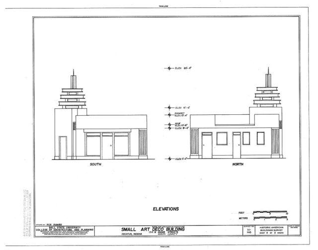 Small Art Deco Building, Thirteenth & Adams Streets, Decatur, Adams County, IN