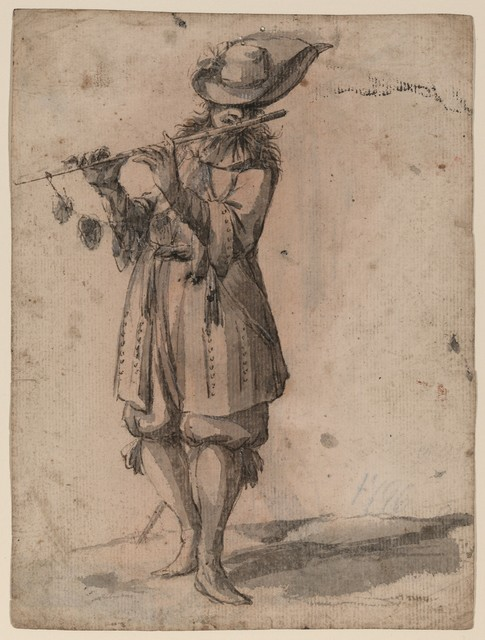 [ Soldier playing flute, recto; fisherman, verso]