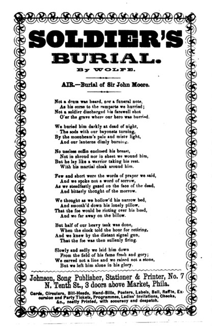 Soldier's burial. By Wolfe. Air: Burial of Sir John Moore. Johnson, Song Publisher, Phila