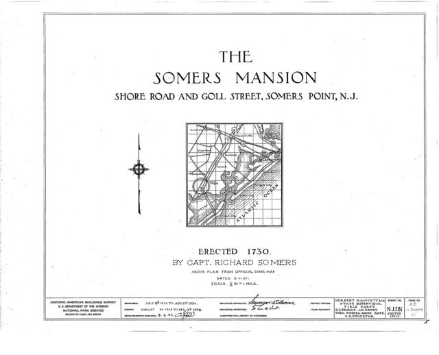 Somers Mansion, Shore Road & Goll Street, Somers Point, Atlantic County, NJ