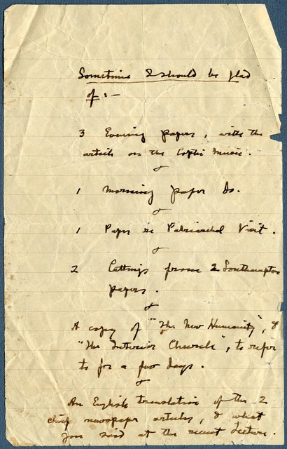 """ Sometime I should be glad of...,"" list from Ernest Newlandsmith to Ragheb Moftah, undated, [ca.1930s]"