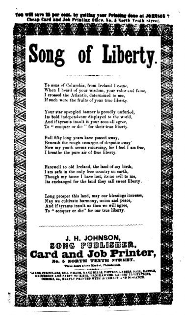 Song of liberty. J. H. Johnson, Song Publisher, ... Phila
