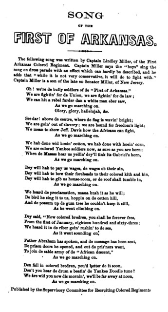 Song of the first of Arkansas ... written by Captain Lindley Miller, of the First Arkansas Colred Regiment. Published by the Supervisory Committee for Recruiting Colored Regiments
