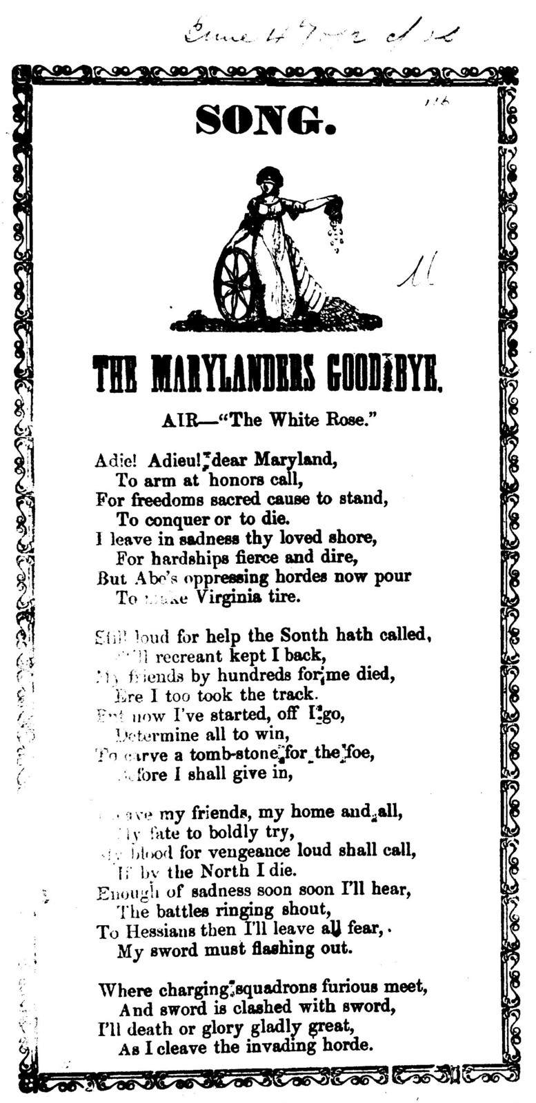 """Song. The Marylanders goodbye. Air-""""The White rose."""""""