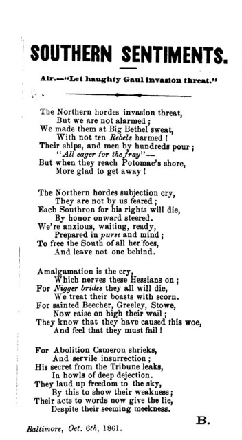 """Southern sentiments. Air---""""Let haughty Gaul invasion threat."""" Baltimore, Oct. 6th, 1861"""