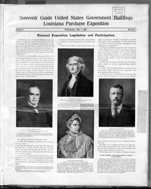 Souvenir guide to the United States government buildings and exhibits at the Louisiana exposition, 1904.
