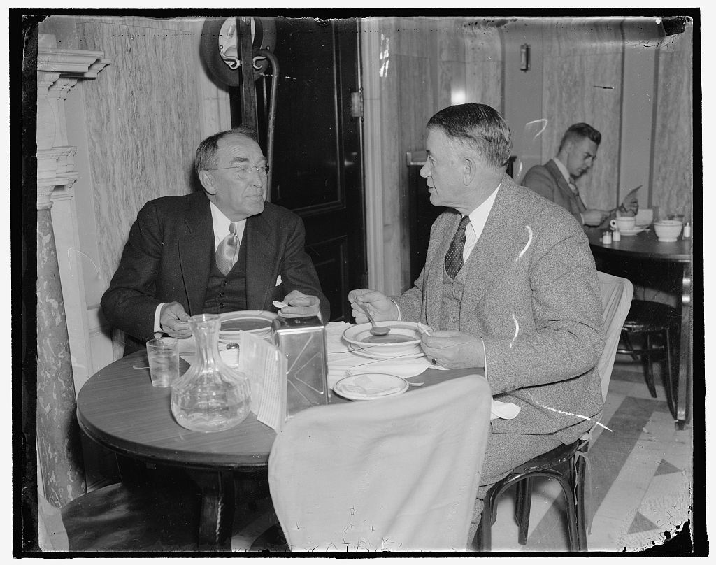 Speaker of the house. Washington, D.C., Nov. 15. Speaker of the House William B. Bankhead enjoys a bite of lunch in the House restaurant following the opening of the special session today. 11/15/37