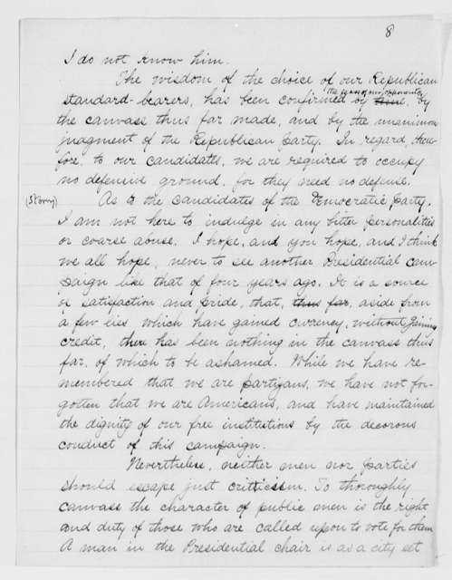 Speech Made while Participating in the Presidential Campaign during Cleveland's Administration (fragment)