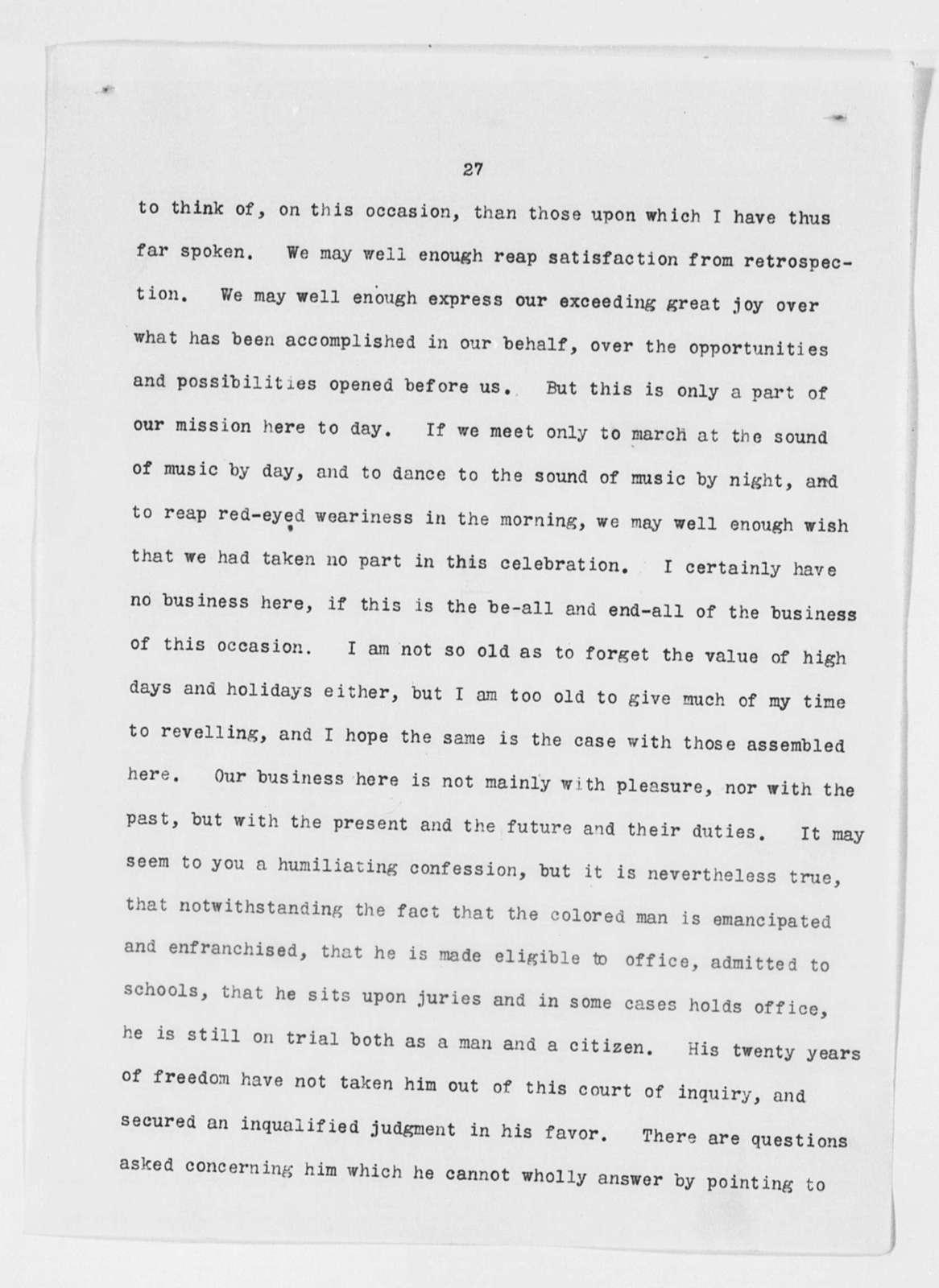 Speech on Emancipation Day, Rochester, N. Y.