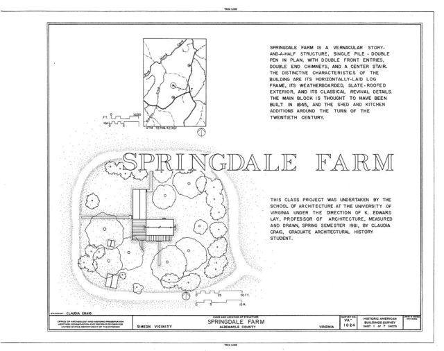 Springdale Farm, Buck Island Creek vicinity, Simeon, Albemarle County, VA