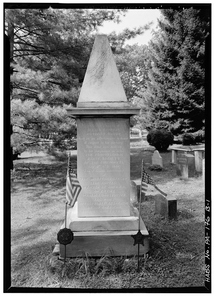 """St. David's Church (Episcopal), Grave of General """"Mad"""" Anthony Wayne, Valley Forge Road (Newtown Township), Wayne, Delaware County, PA"""
