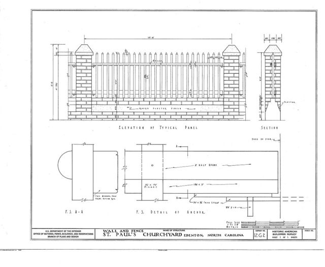St. Paul's Episcopal Church, Wall & Fence, West Church & North Broad Streets, Edenton, Chowan County, NC