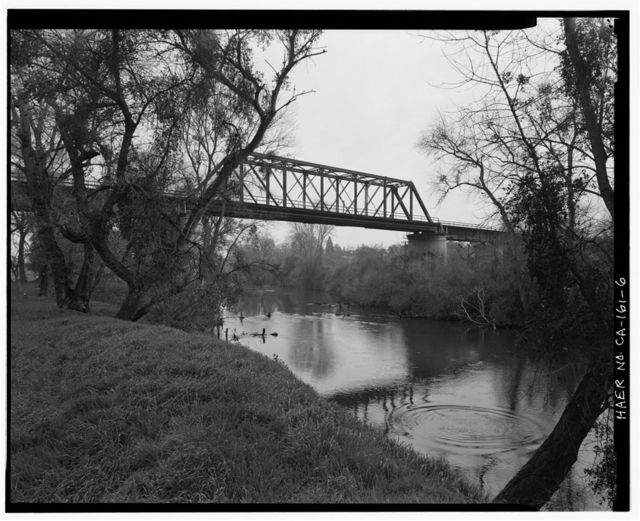 Stanislaus River Bridge, Atchison, Topeka & Santa Fe Railway at Stanislaus River, Riverbank, Stanislaus County, CA