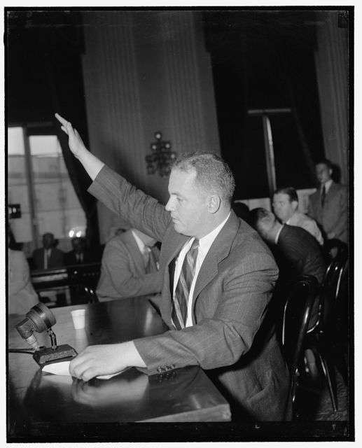 Star witness before Dies Committee. Washington, D.C., May 22. Dudley P. Gilbert, New York socialite, who has been financial angel for an undercover nationwide anti-Semitic and anti-communist movement, today told the Dies Committee Investigating Un-American Activities that the American people will 'have to rise under some American officer of the Franco type' if a 'red revolution' is to be averted