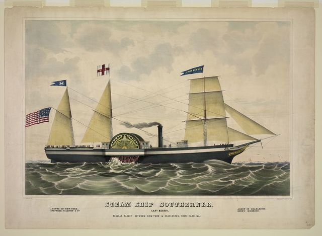Steam ship Southerner, Capt. Berry. Regular packet between New York & Charleston, South Carolina