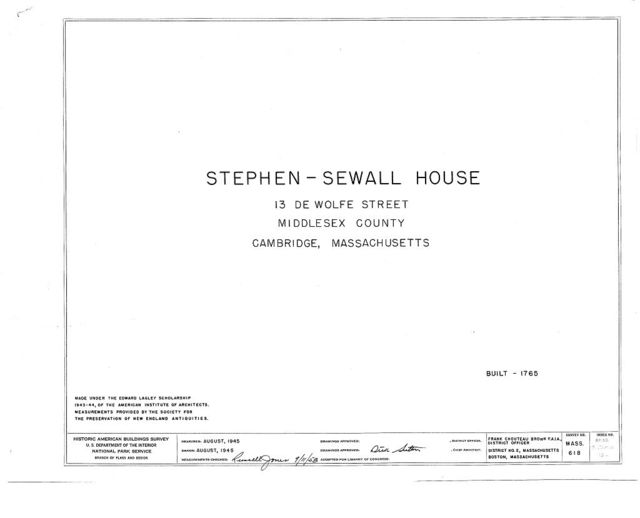 Stephen Sewall House, 13 DeWolfe Street, Cambridge, Middlesex County, MA