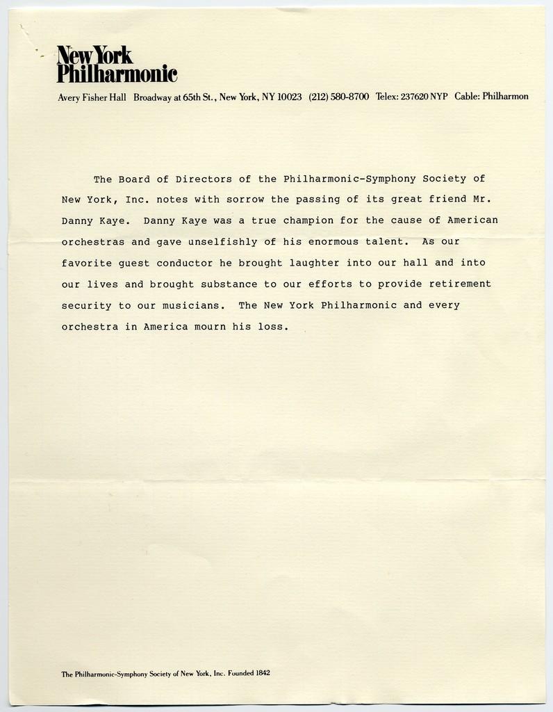 Stephen Stamas [President, New York Philharmonic] to Sylvia Fine, March 9, 1987