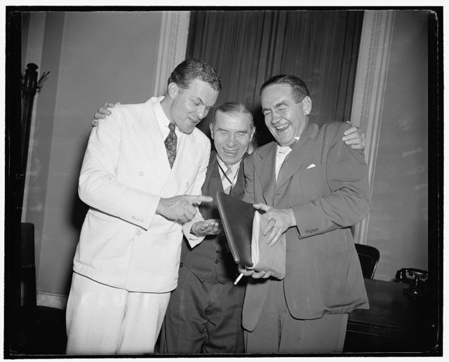 Still friends after House battle of neutrality. Washington, D.C., July 1. After the House went through one of the administration's severest setbacks last night on the neutrality measure, principals involved remain good friends. Rep. Robert Allen of Pennsylvania, Sol Bloom of New York, and Republican John Vorys of Ohio, met after the Bloom Bill went through with amendments which constituted a setback to the administration's Neutrality Bill proposed by Bloom, and agreed that it was a great fight with no grudges. Rep. Vorys led the republican fight that changed the bill and Rep. Allen was a strong supporter of the Bloom Bill