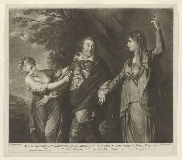 Strive not tragedy nor commedy to Engrofs a Garrick, who to...