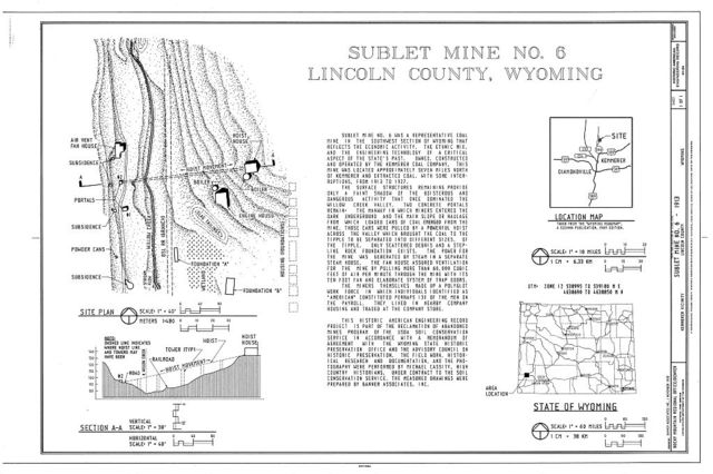 Sublet Mine No. 6, East of County Road No. 306, 3 miles north of U.S. Highway 189, Kemmerer, Lincoln County, WY