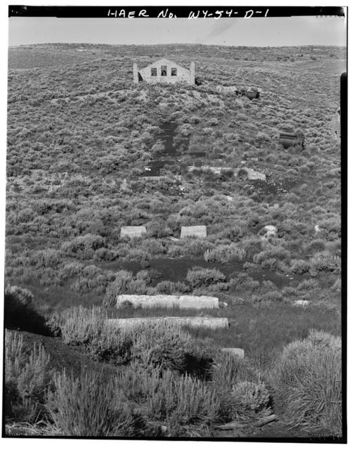 Sublet Mine No. 6, Hoist House, North structure, east side of Willow Creek Valley, east of County Road No. 306, 3 miles north of U.S. Highway 189, Kemmerer, Lincoln County, WY