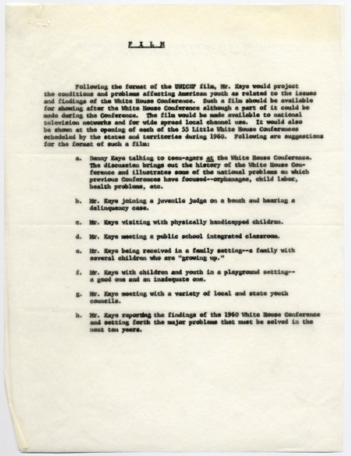 Suggestions for Mr. Kaye's Participation in the 1960 White House Conference on Children and Youth, March 27 – April 2, 1960
