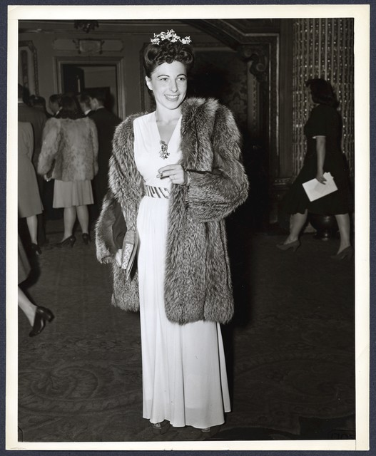 [ Sylvia Fine in formal dress and fur at Eddie Cantor opening]