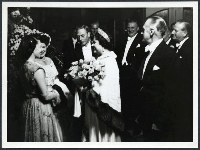 [ Sylvia Fine meeting the Royal Family in London for Danny Kaye's Command Performance at the Palladium]