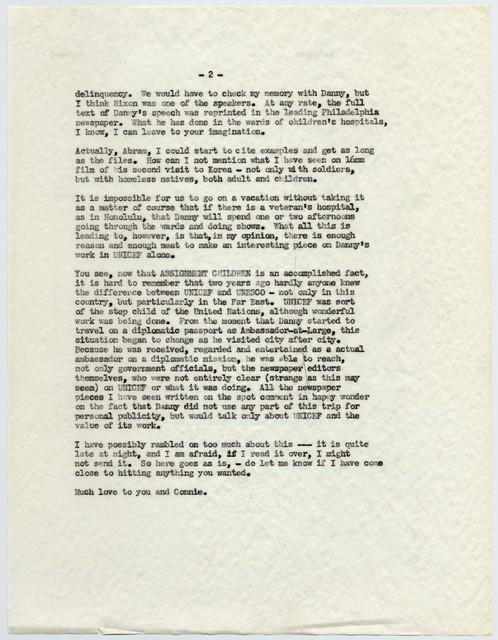 [ Sylvia Fine to Abram Chasins, November 8, 1955]