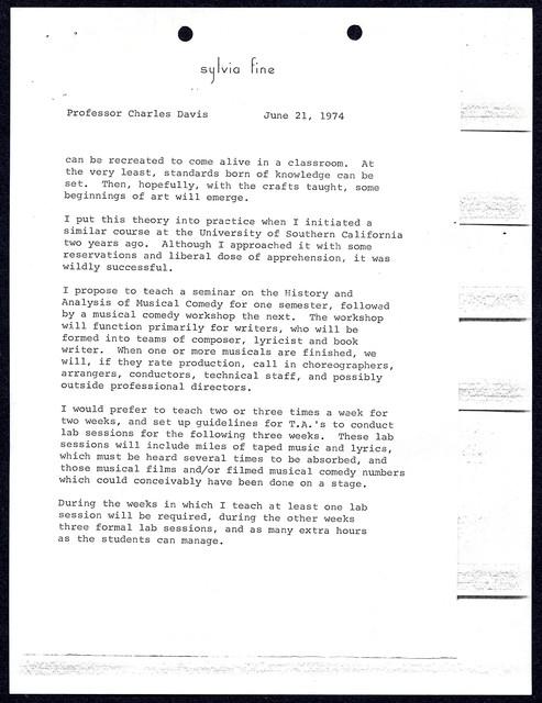 [ Sylvia Fine to Charles Davis, Master of Calhoun College, Yale University, June 21, 1974]