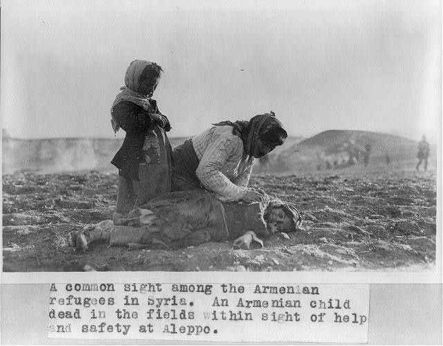 """[Syria - Aleppo - Armenian woman kneeling beside dead child in field """"within sight of help and safety at Aleppo""""]"""