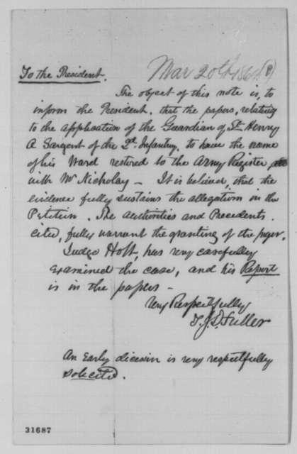 T. J. D. Fuller to Abraham Lincoln,  ND  (Case of Henry Sargent)