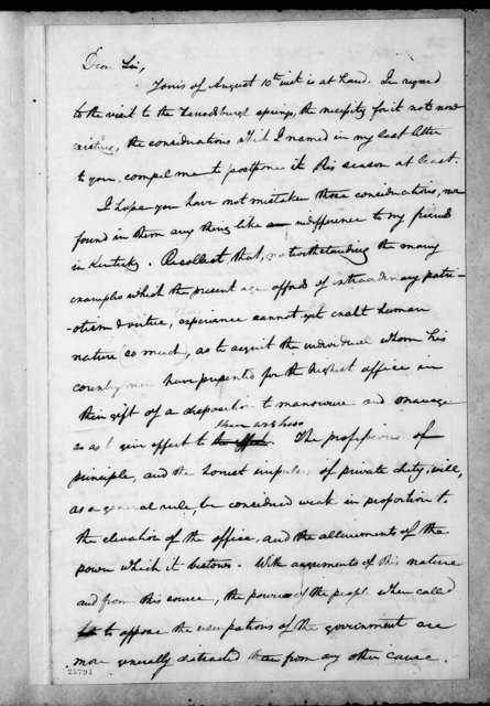 T. P. Moors to Andrew Jackson