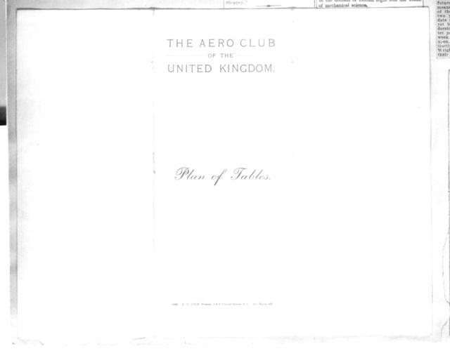 [Table setup plans, Aero Club of the United Kingdom]