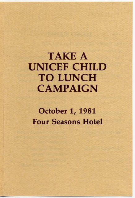 Take a UNICEF Child to Lunch Campaign, October 1, 1981