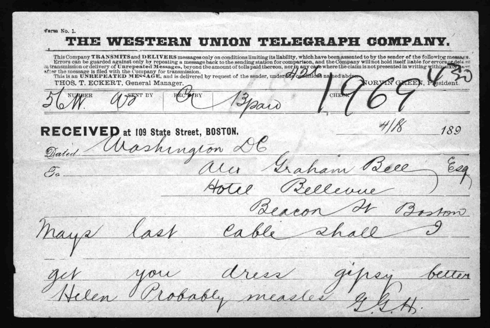 Telegram from Gardiner Greene Hubbard to Alexander Graham Bell, April 18