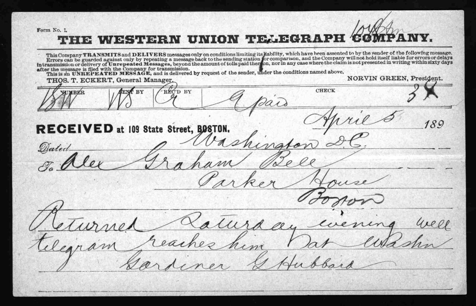Telegram from Gardiner Greene Hubbard to Alexander Graham Bell, April 5