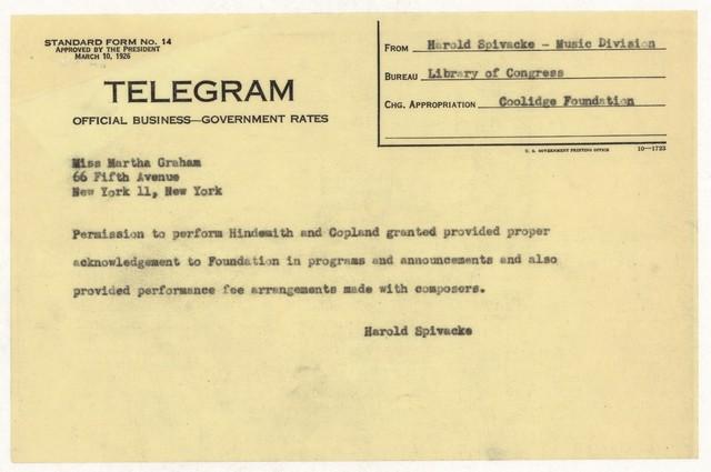 [ Telegram from Harold Spivacke to Martha Graham, n.d., 1945]