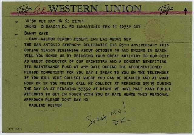 [ Telegram from Pauline Reiter (San Antonio Symphony) to Danny Kaye, May 14, 1953]