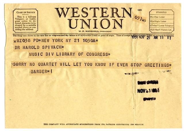 [ Telegram from Samuel Barber to Harold Spivacke, November 21, 1951]
