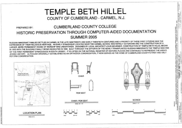 Temple Beth Hillel, 547 Irving Avenue, Millville, Cumberland County, NJ