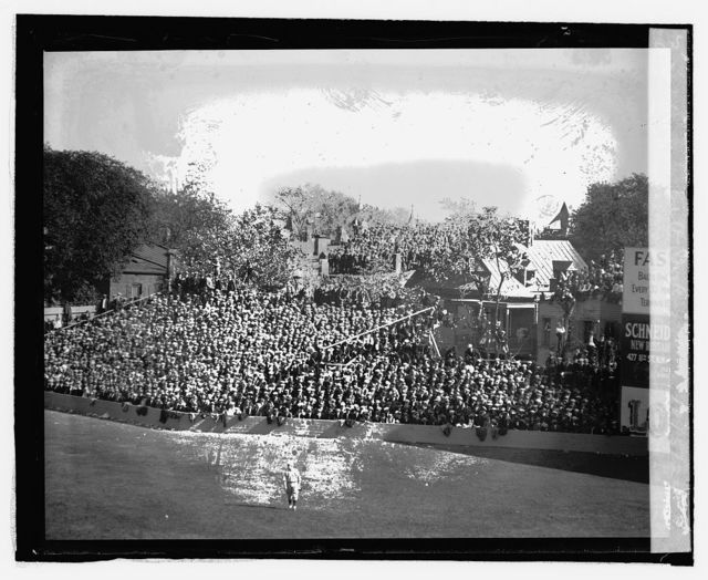 Temporary bleachers and crowds at ball park, 10/5/24