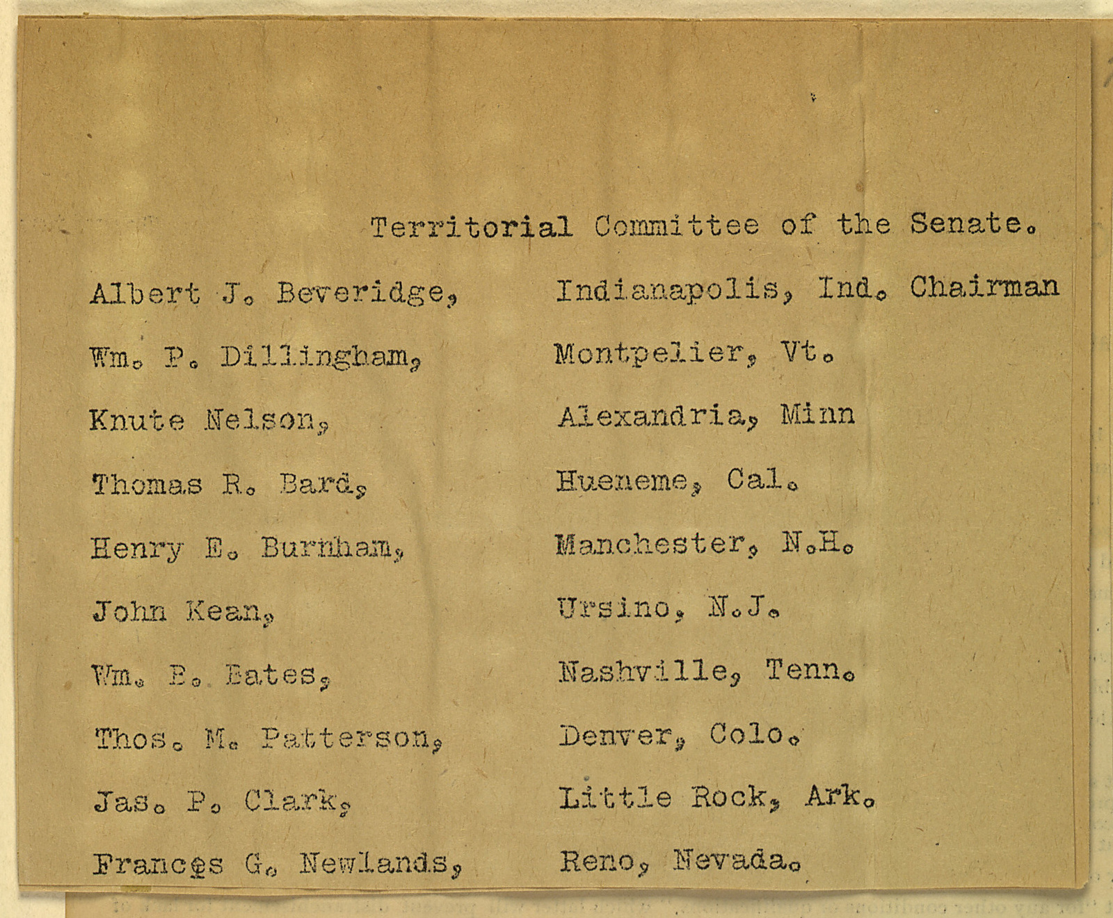 Territorial Committee of the Senate