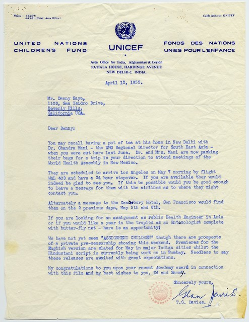 [ T.G. Davies (UNICEF) to Danny Kaye, April 12, 1955]