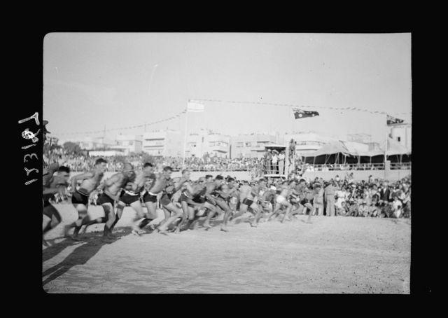The A.I.F. [i.e., Australian Imperial Force] Surf Carnival display at Tel-Aviv
