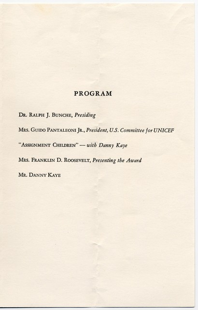 The  American Association for the United Nations invitation to dinner at The Waldorf Astoria, Starlight Roof, to honor Danny Kaye, October 17, 1955